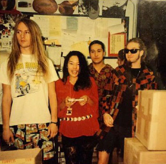 Jerry Cantrell & Layne Staley in the backroom of Tower Records Anaheim for a meet in greet, 1990