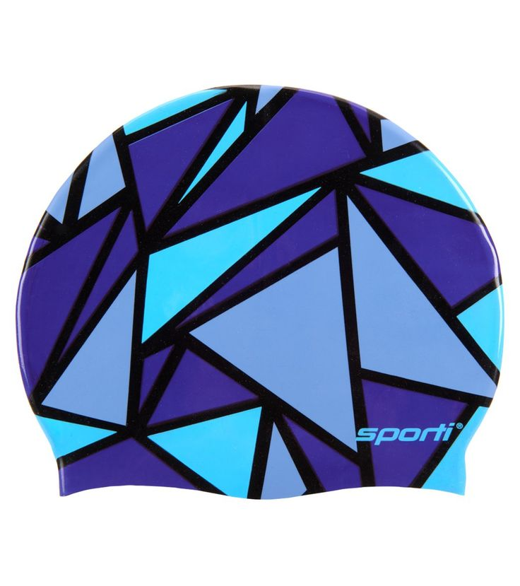 Shatter your pool's records in the colorful Sporti Stained Glass Silicone Swim Cap. Its anti-slip ribbing provides a secure fit to reduce drag. The prism-like design beats chlorine-green hair every time.