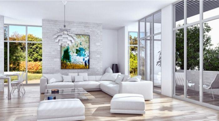 Bilder Wohnzimmer Einrichtung In Weiß Farbenfrohes Bild über Dem