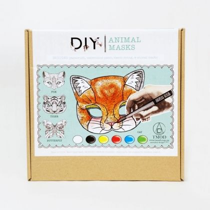 Create your dream mask with this DIY kit.  Pick from 4 animals a fox, tiger, butterfly or a cat and make them your own with water color paint, tie on some elastic and step into character. Perfect for the DIY session with your friends.