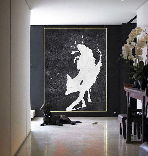 Abstract Painting Large Canvas Art, Black White Fox, Acrylic MinimaIlist Painting.