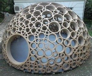 A dome model made out of cardboard that replicate the idea of circles and flowers that give me a strong feeling of construction.