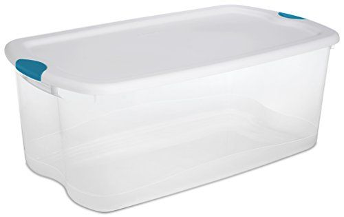 Sterilite 18898004 106 Quart/100 Liter Latch Box, White Lid with Clear Base and Blue Aquarium Latches, 4-Pack