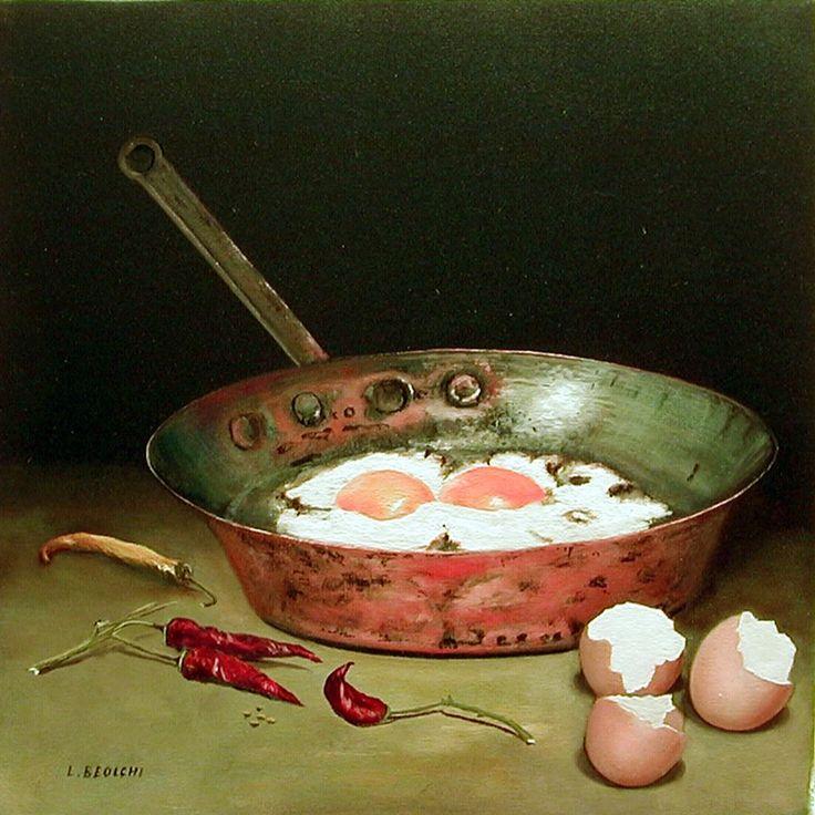 AUTORE : Luigi Beolchi  TITOLO : Uova al tegamino con peperoncino TECNICA : Olio su tela MISURE 30x30 cm - 2002