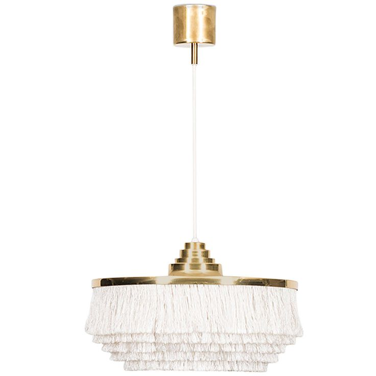 Hans agne jakobsson ceiling lamp in brass and white fabric