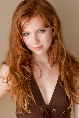 Molly C Quinn has the typical Weasley red hair, which goes with her blue eyes. Description from pottersarmy.net. I searched for this on bing.com/images