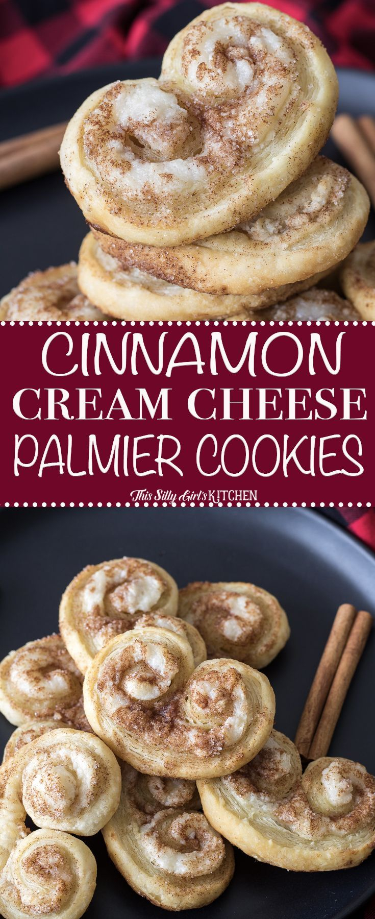 SO EASY! Cinnamon Cream Cheese Palmier Cookies. Puff pastry, sweetened cream cheese, and cinnamon sugar baked to golden brown deliciousness!
