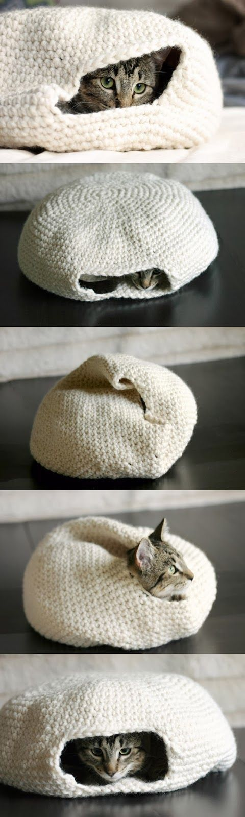 crochet cat Nest (I want one for my 4-lb Chihuahua)  The pattern is free you need to click on the link for it under the pictures on the site, that will take you to a translated page. It is a safe link.