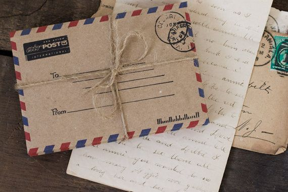 Airmail Envelopes Stationery Paper Goods Rustic by PocketsofFilm