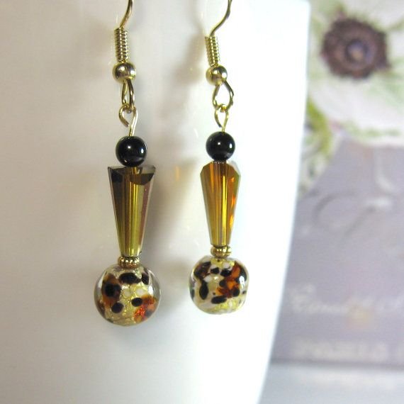 Gold animal print earrings, amber earrings, beveled crystal cone, contemporary, unique, dangle, drop,  high fashion,  gift, Andesbeads