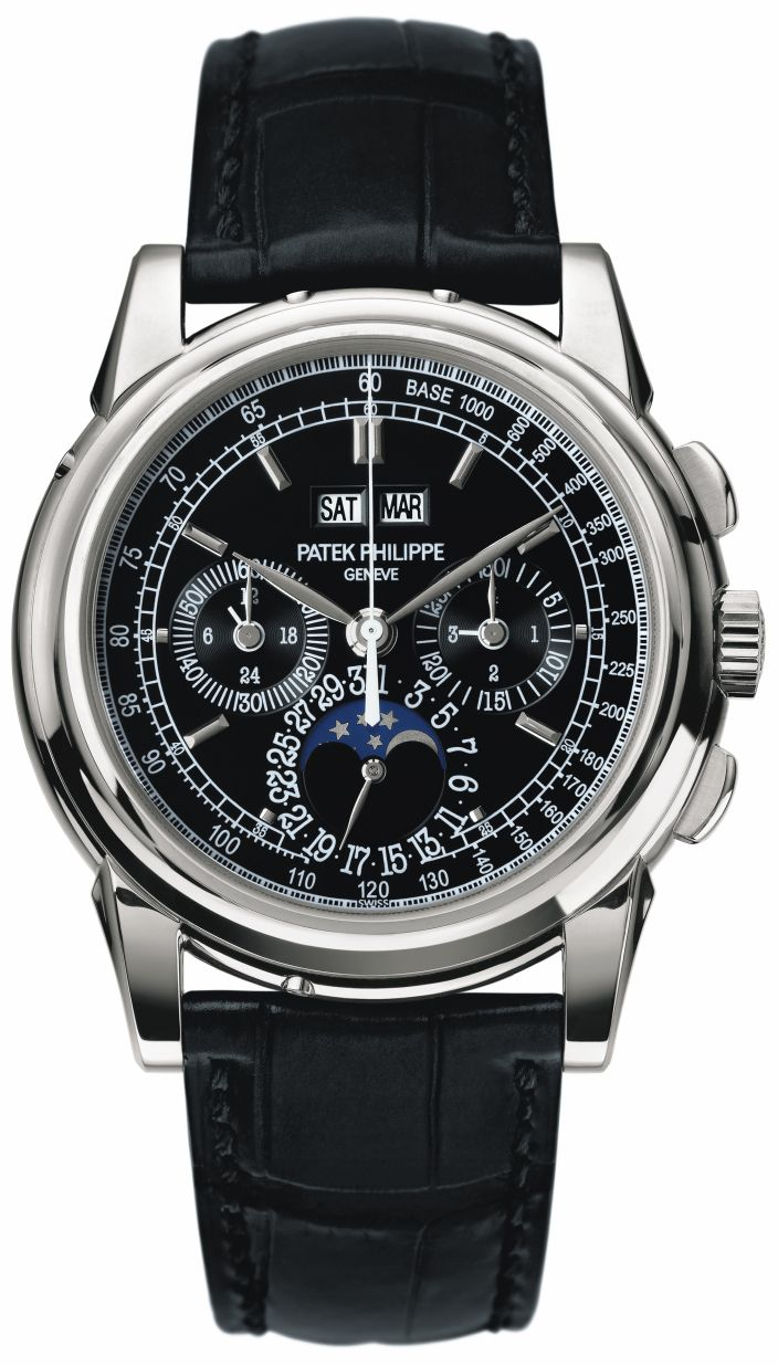 Patek Philippe 5970G Perpetual Calendar in White Gold.  The Patek Philippe 5970 is a thoroughly modern interpretation of Patek's classical pairing of the perpetual calendar and chronograph complications.