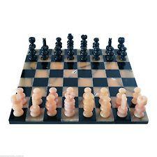 Scacchiera in Marmo Nero e Onice Giallo Marble Chess Set Classic Home Design
