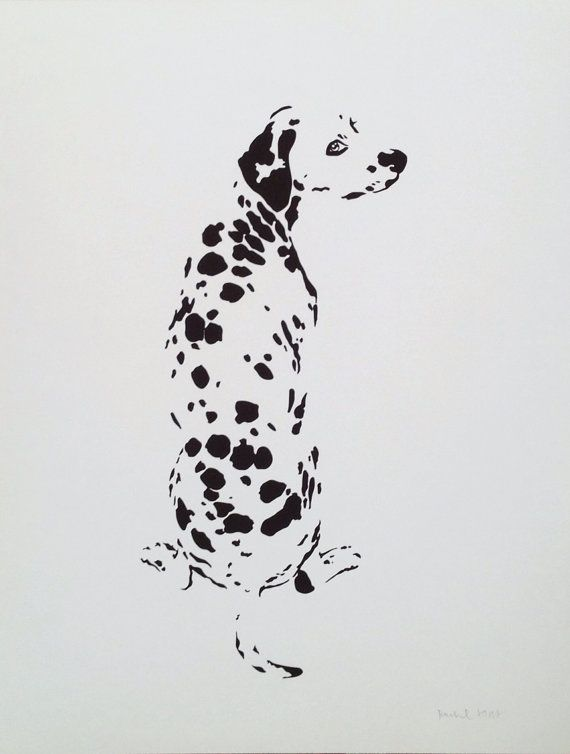 This fun dalmatian print looks great framed, or hung as a poster! Done only in black and white, it celebrates the character and simplicity of