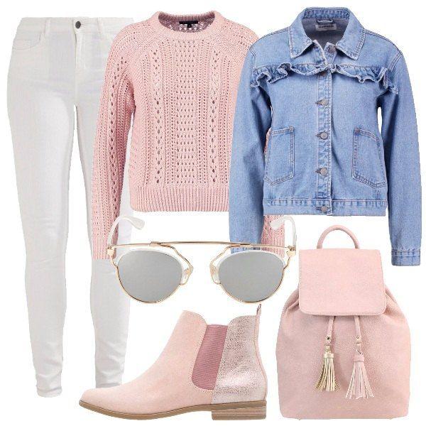 Un look comodo ma trendy per approfittare dei weekend lunghi per una mini vacanza. Jeans skinny bianco, maglioncino rosa e giubbotto jeans con volant. Stivaletto comodo, zainetto pratico e di tendenza, occhiali da sole per dare un tocco e schermare il sole.