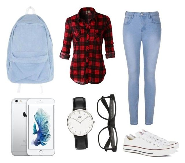 """""""School lazy day outfit"""" by dadacookie on Polyvore featuring Ally Fashion, LE3NO, Converse and Daniel Wellington"""