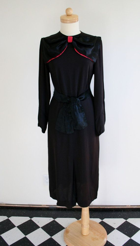 Fabulous Festive Vintage 1940's Crepe Black Dress with Giant Bow and Bow Tie Belt size Medium