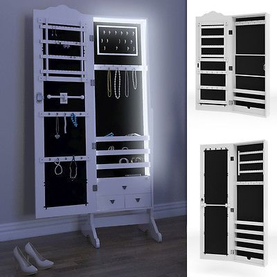 details zu spiegelschrank schmuckschrank standspiegel wei schmuck schrank spiegel led led. Black Bedroom Furniture Sets. Home Design Ideas