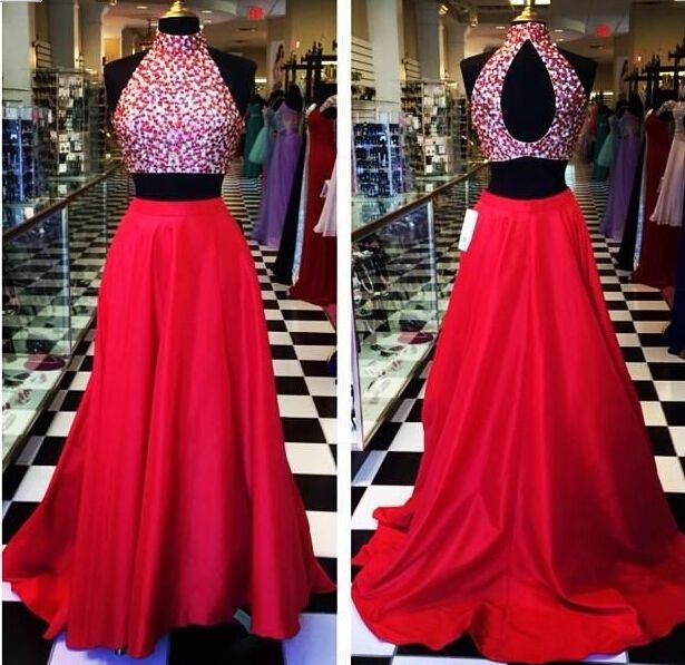 Two Piece Prom Dresses 2015 Open Back Red Sexy Vestido De Festa Crystal High Neck Satin Party Evening Dress Gowns