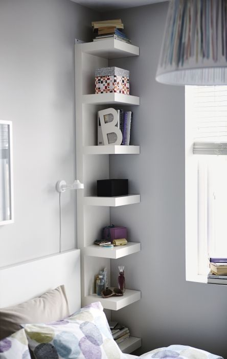 LACK wall unit - love this next to the bed as a dual-purpose bookshelf AND nightstand :)