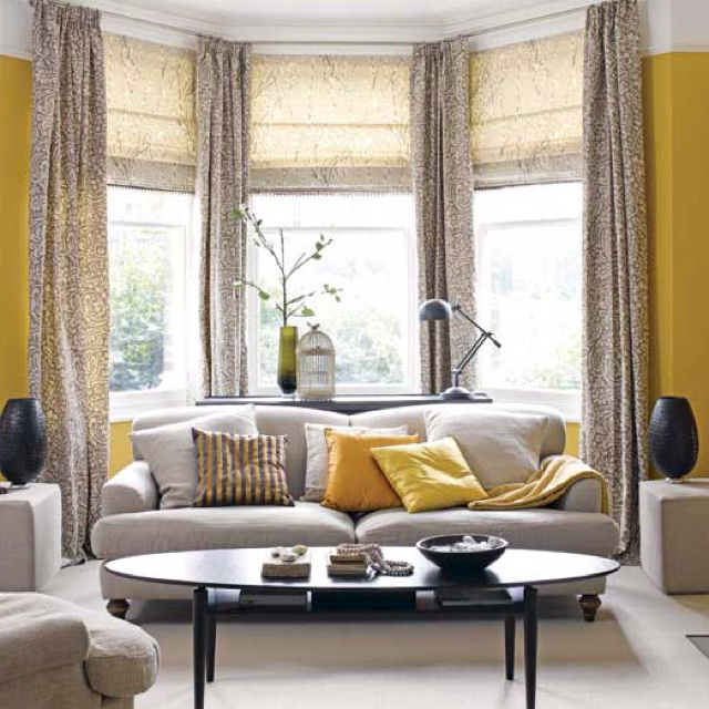 Zesty Yellow Living Room With Bay Window This Is All About Balance And Symmetry Of Furniture Accessories Colour We Love The Way Bold