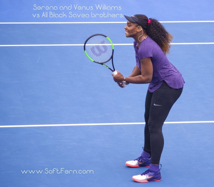 Serena Williams.        Serena and Venus Williams vs All Black Savea brothers today in Auckland. ... 19  PHOTOS        ... At the first day of year 2017 in Auckland tennis superstars Serena and Venus Williams will met All Black brothers Julian and Ardie Savea at a charity match-up.        Posted from:          http://softfern.com/NewsDtls.aspx?id=1119&catgry=1            SoftFern News, Venus Williams, Serena Williams, sisters Williams vs All Black Savea brothers, Serena and Venus Williams…