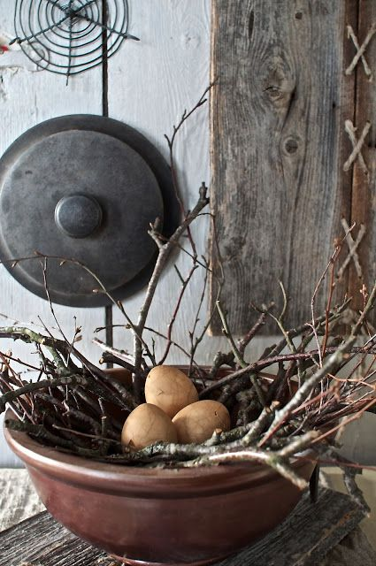 Old Bowl...stuffed with a twiggy nest & eggs.