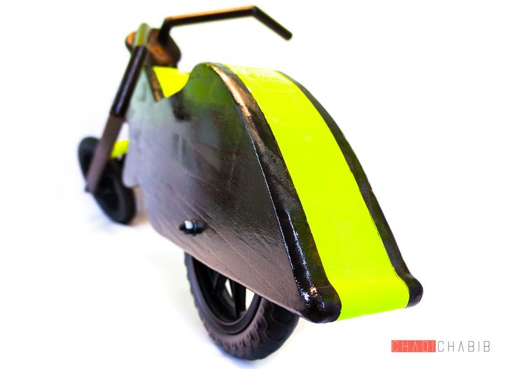 Wooden Chopper balance bike, by Chadi Chabib  Draisienne en bois de style Chopper conçue par Chadi Chabib