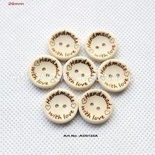 ( 100pcs/pcs) met de hand gemaakt met liefde knoppen scrapbooking naaien knop natuurlijk hout 20mm- ad0124a(China (Mainland))