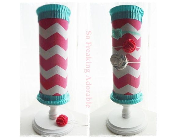 FREE Headband with Purchase - Baby Girl Headband Holder Hollow Inside for Extra Storage - Pink Chevron w Turquoise Ribbon on Etsy, $35.00