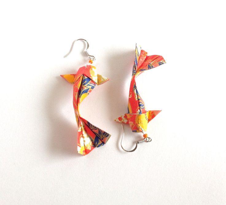 Boucles d'oreilles origami, carpe japonaise Koï, bijou origami, poisson origami orange : Boucles d'oreille par 1000-grues-et-3-donuts