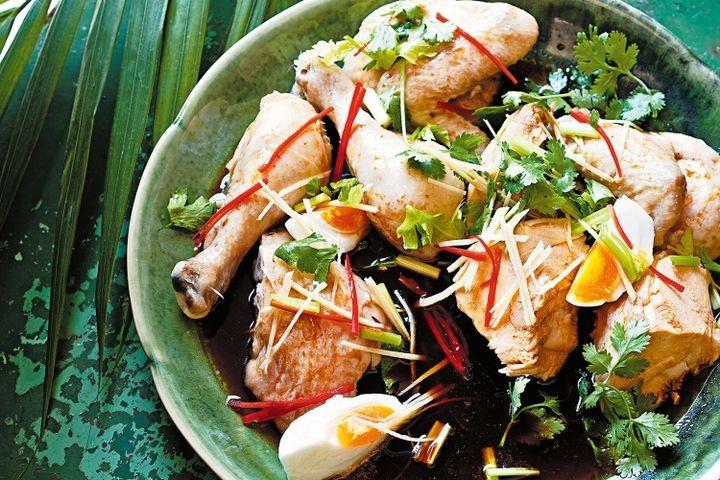 Drunken chicken with salted duck egg salad