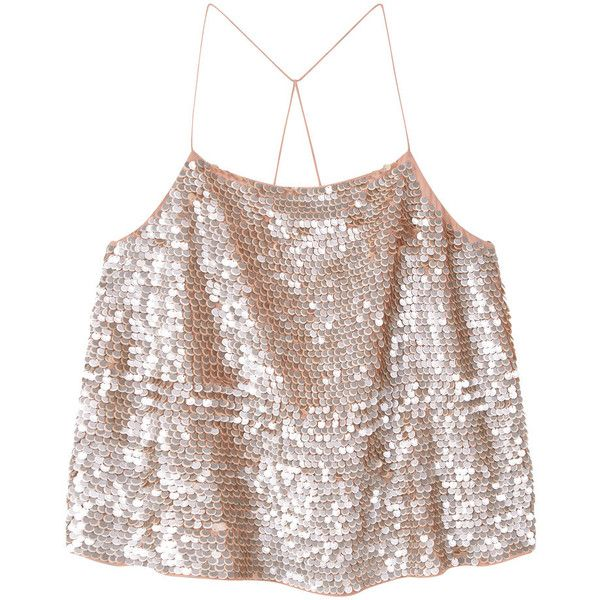 MANGO Sequined Strap Top ($80) ❤ liked on Polyvore featuring tops, mango tops, spaghetti-strap top, embellished tops, sequin embellished top and surplice tops