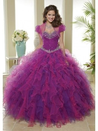 Ball Gown Sweetheart Beading Crystal Ruffled Organza Long Purple Quinceanera Dress