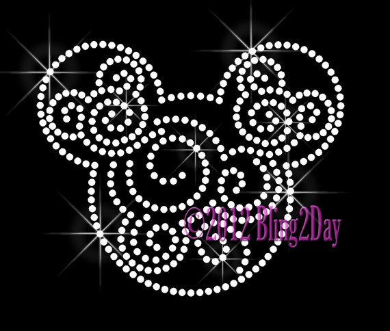 Make your own Tees for Christmas... Mickey Swirls  Clear  Iron on Rhinestone Transfer by BlingPlaza, $7.99