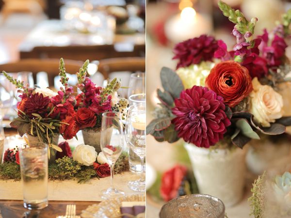 red wedding flowers - photo by Pepper Nix Photography http://ruffledblog.com/deer-valley-resort-wedding-with-a-burgundy-gown