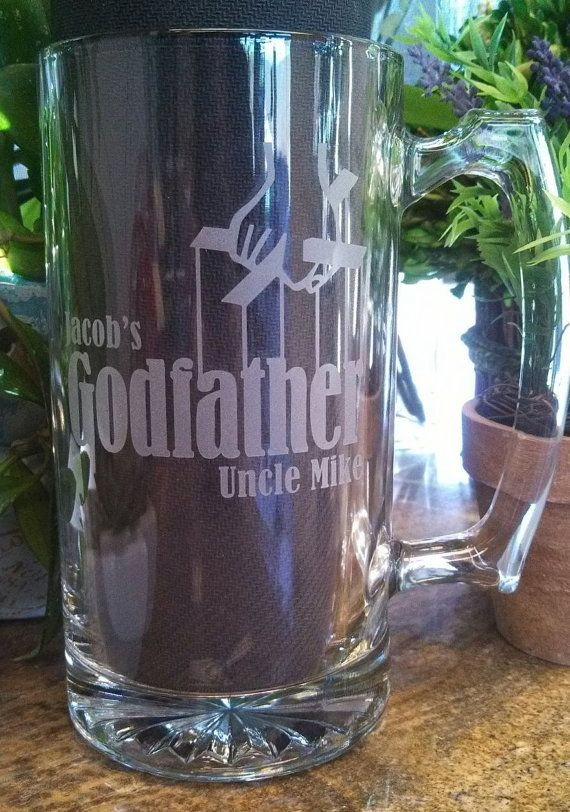 The Glass Godfather stein gift for baptism, communion
