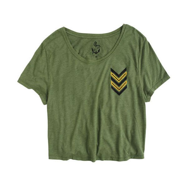 Chevron Army Tee ($5.99) ❤ liked on Polyvore featuring tops, t-shirts, shirts, tees, graphic tees, chevron t shirt, green graphic tees, green shirt and graphic design t shirts