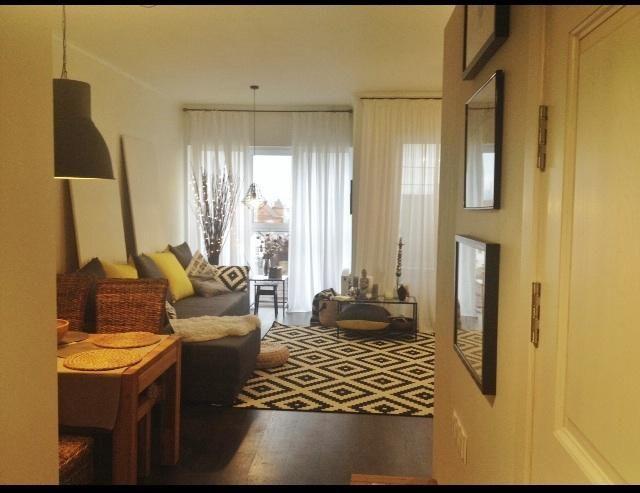 Гостиная-кухня фото, черно-белый ковер на полу