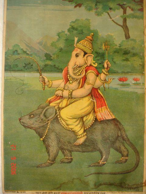The Hindu god Ganesh on his vahana/vehicle, a rat or mouse; 1910. (columbia.edu)