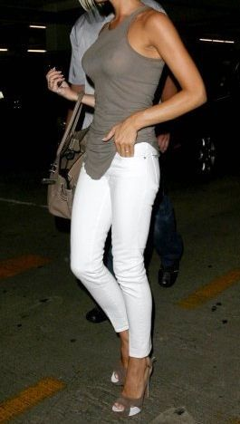 White skinny jeans with a see-through tank and slingback heels #legs #boobs #heels