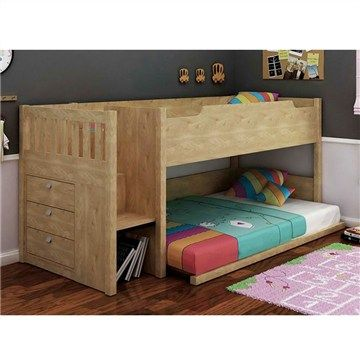 River Single Size Bunk Bed - Oak Finish