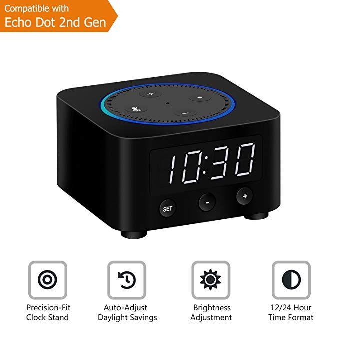 Desk Clock for Echo Dot 2nd Generation, Echo Dot Holder