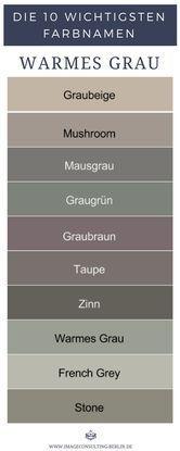 Warme Grautöne sind Graubeige, Mushroom, Mausgrau, Graugrün, Graubraun, Taupe