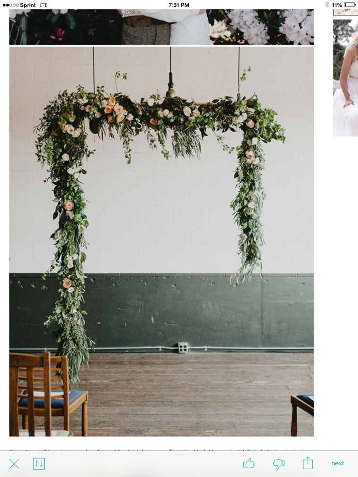 RENAE/FLORIST - For our wedding arch.  We like this combination of greenery and florals.  We just want to make sure all the greenery goes well together with the chair ends, centerpieces, and potted plants complement or are similar to each other.