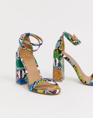 558e370112b DESIGN Highlight barely there block heeled sandals in snake in 2019 ...