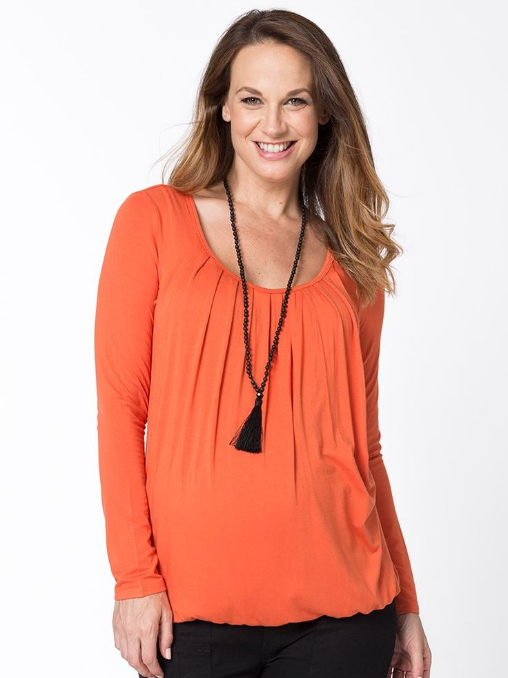 Juicy Bubble Top from breastmates.co.nz -- Brighten up even the dreariest winter days with a pop of juicy orange. Dual for breastfeeding and maternity, with a flattering bump-friendly bubble hem.
