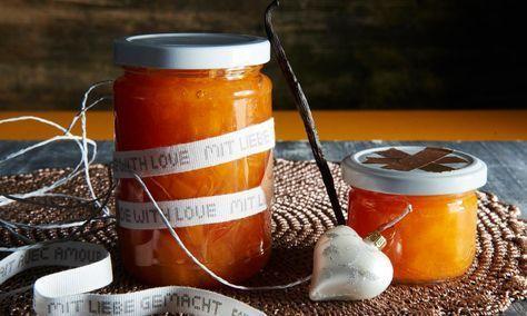 Blutorangen-Mango-Marmelade Rezept: Fruchtige Marmelade mit Blutorangen, Mango und Vanille - Eins von 5.000 leckeren, gelingsicheren Rezepten von Dr. Oetker!