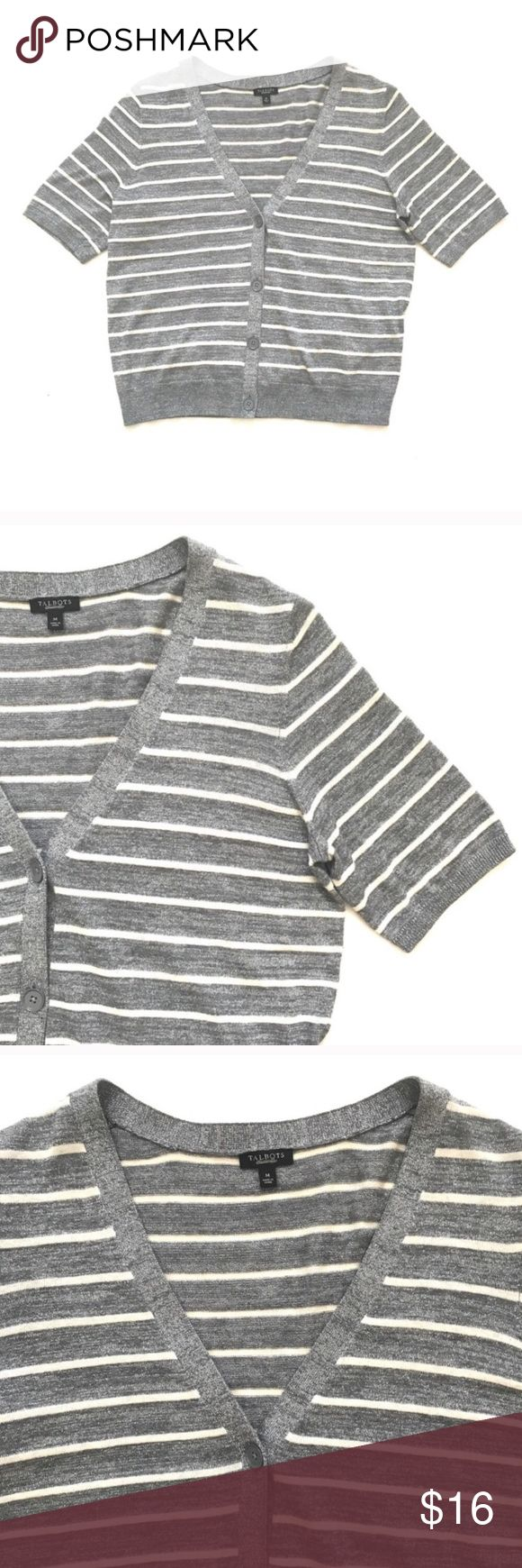 """Talbots Gray Striped Metallic Cardigan Talbots Gray Striped Metallic Cardigan Gray short sleeved cardigan by Talbots. Has Metallic threading. Buttons down the front.  Size Medium. Approx measurements lying flat: 19.5"""" bust, 22"""" length.  Excellent condition. No trades. Reasonable offers welcome Talbots Sweaters Cardigans"""