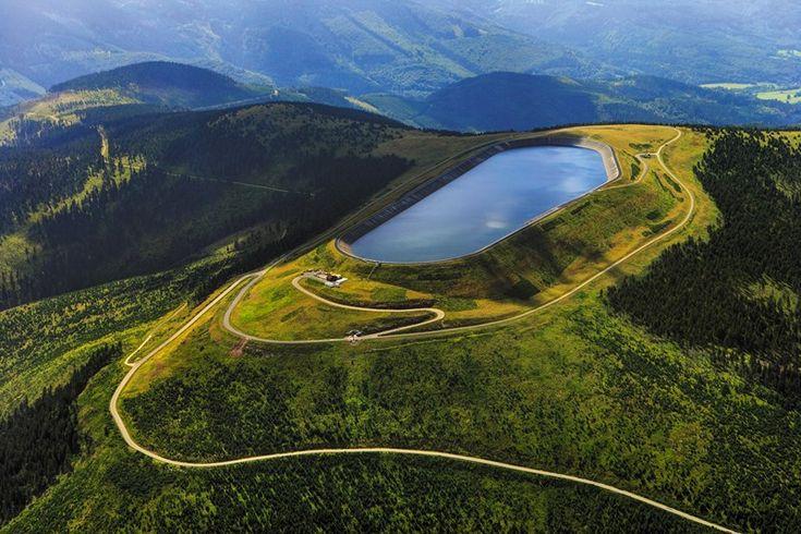 Dlouhé stráně reservoir in Jeseníky mountains, Czechia