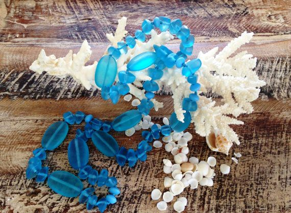 OCEAN AQUA BLUE long handmade necklace resin by MissionDesign